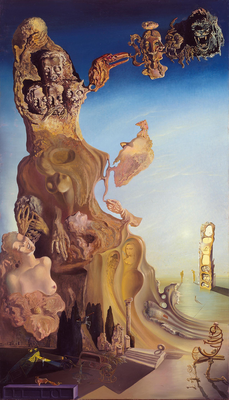 サルバドール・ダリ 《子ども、女への壮大な記念碑》 1929年、140.0×81.0cm、カンヴァスに油彩、コラージュ、国立ソフィア王妃芸術センター蔵 Collection of the Museo Nacional Centro de Arte Reina Sofía, Madrid © Salvador Dalí, Fundació Gala-Salvador Dalí, JASPAR, Japan, 2016.