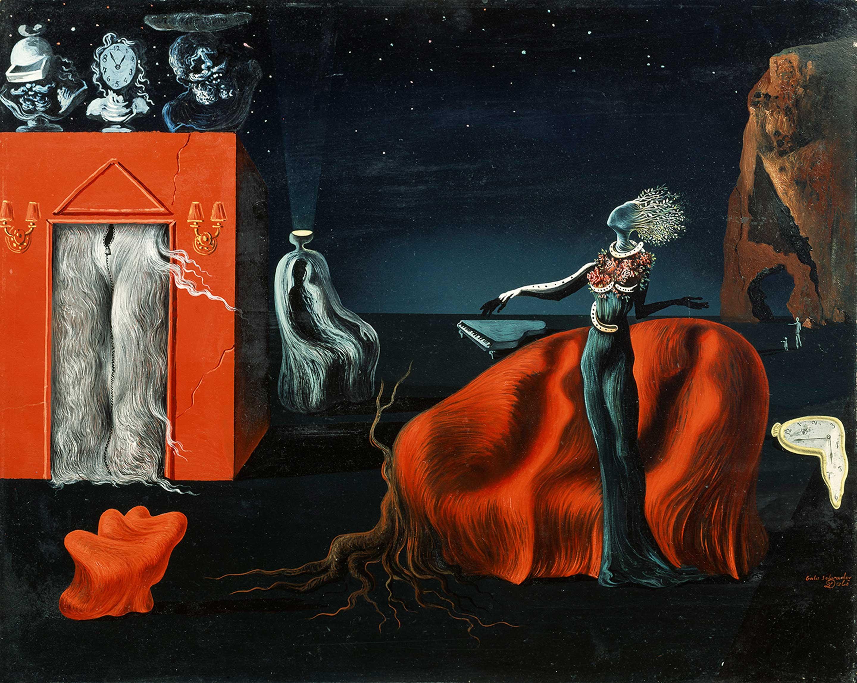 サルバドール・ダリ 《奇妙なものたち》 1935 年頃、40.5×50.0 cm、板に油彩、コラージュ、ガラ=サルバドール・ダリ財団蔵 Collection of the Fundació Gala-Salvador Dalí, Figueres © Salvador Dalí, Fundació Gala-Salvador Dalí, JASPAR, Japan,2016.