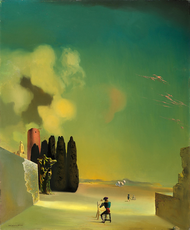 サルバドール・ダリ 《謎めいた要素のある風景》 1934 年、72.8×59.5cm、板に油彩、ガラ=サルバドール・ダリ財団蔵 Collection of the Fundació Gala-Salvador Dalí, Figueres © Salvador Dalí, Fundació Gala-Salvador Dalí, JASPAR, Japan, 2016.