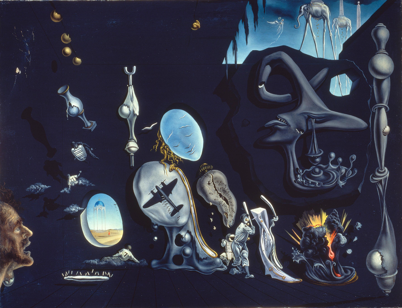 サルバドール・ダリ 《ウラニウムと原子による憂鬱な牧歌》 1945年、66.5×86.5cm、カンヴァスに油彩、国立ソフィア王妃芸術センター蔵 Collection of the Museo Nacional Centro de Arte Reina Sofía, Madrid © Salvador Dalí, Fundació Gala-Salvador Dalí, JASPAR, Japan, 2016.