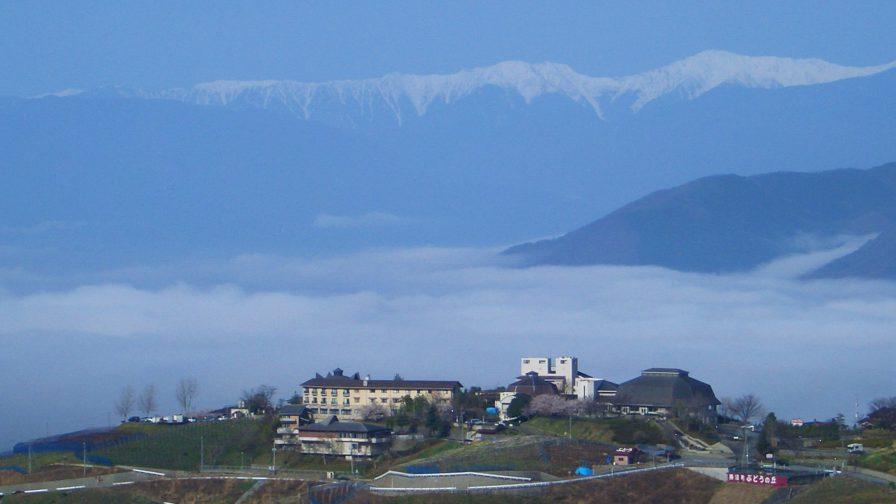甲府盆地を一望できる「ぶどうの丘」。