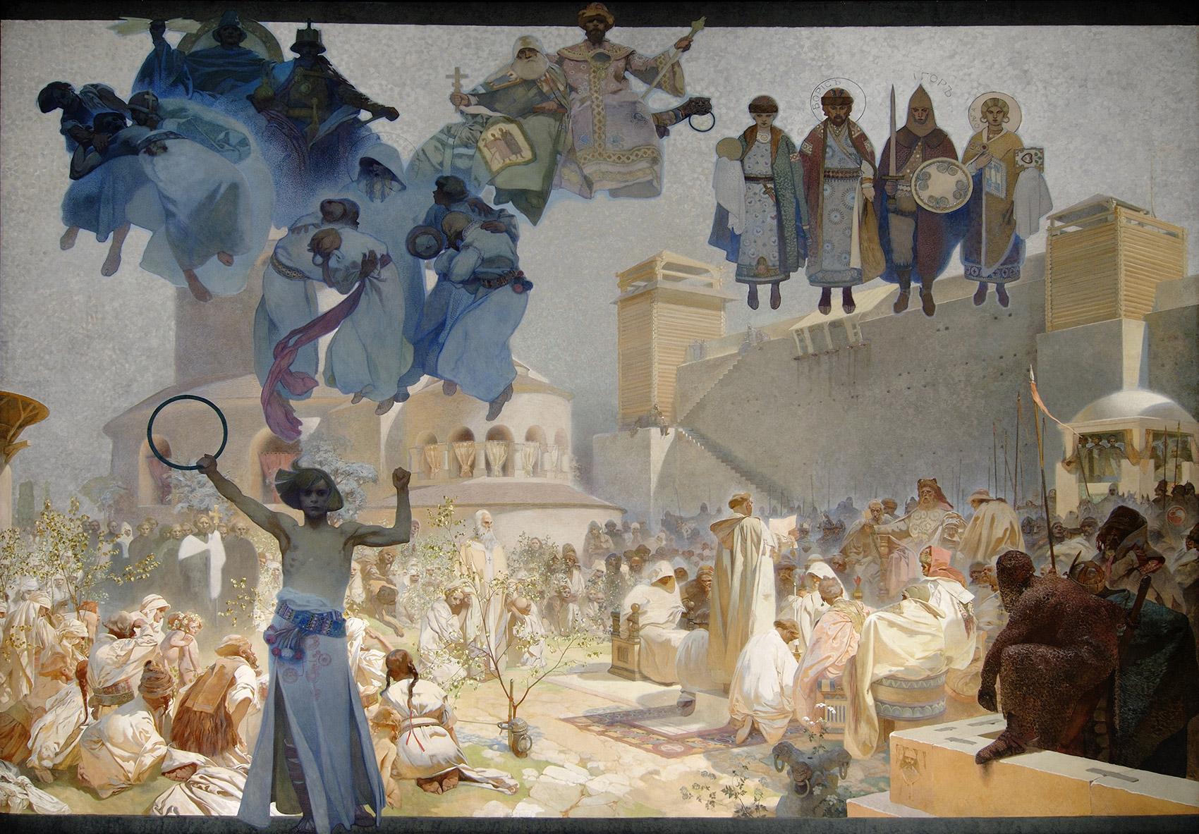 《スラヴ叙事詩「スラヴ式典礼の導入」》1912年 プラハ市立美術館 ©Prague City Gallery