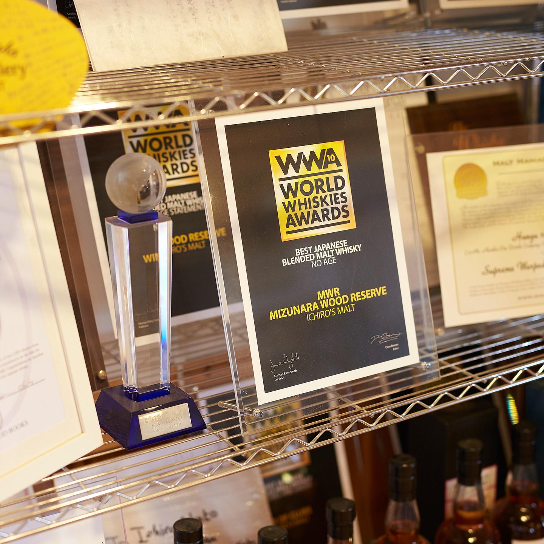 World Whiskies Awardsをはじめ、国際的な賞を数多く受賞している。