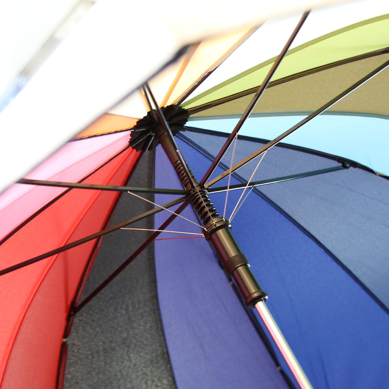 実は、人混みで他の傘や人に当たると、生地部分だけがくるくると回転して衝撃を逃がす構造になっている。