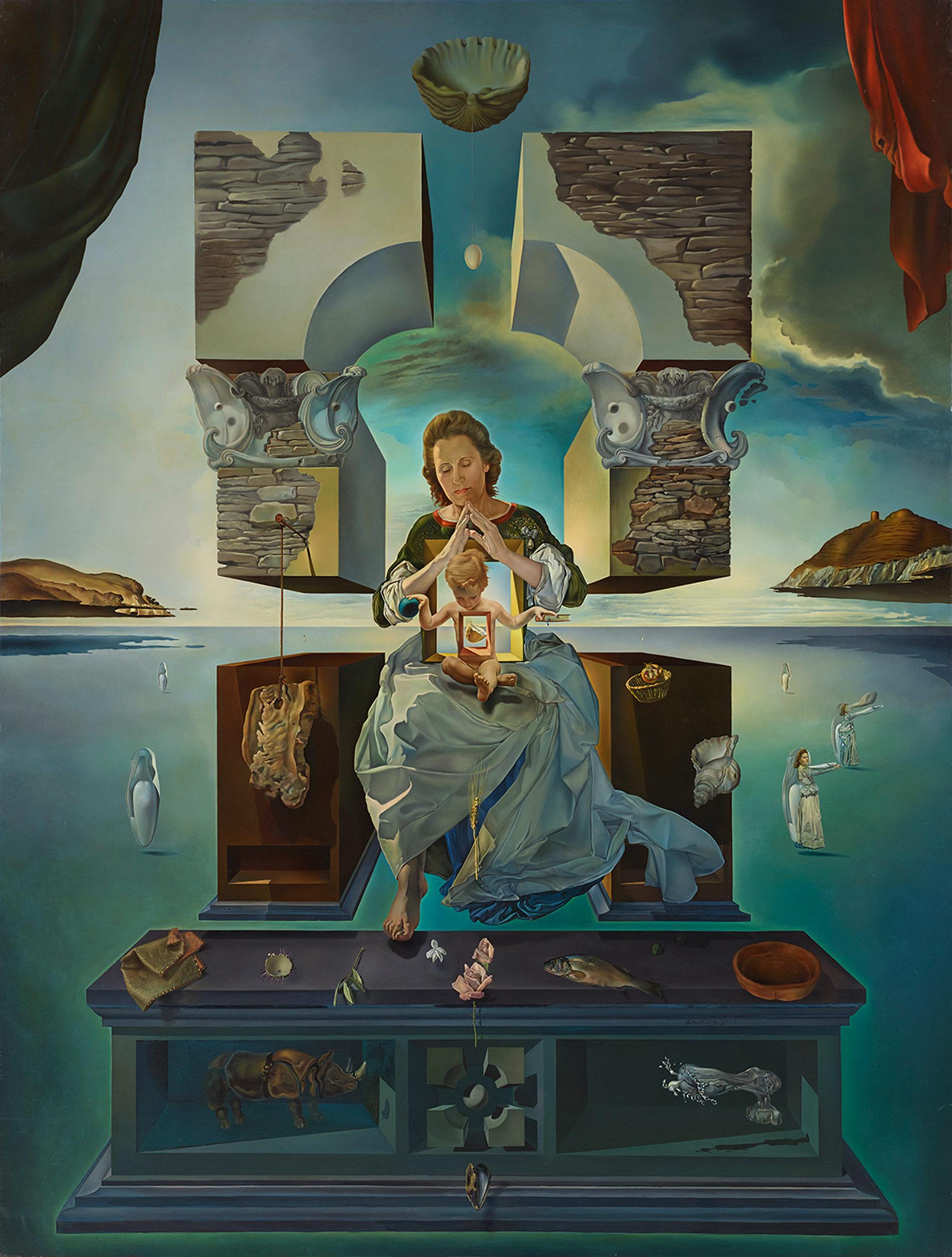 サルバドール・ダリ 《ポルト・リガトの聖母》 1950 年、275.3×209.8cm、カンヴァスに油彩、福岡市美術館蔵 © Salvador Dalí, Fundació Gala-Salvdor Dalí, JASPAR, Japan, 2016. *東京会場のみ展示
