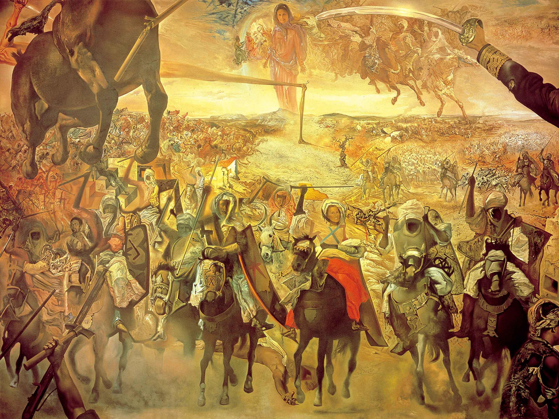 サルバドール・ダリ 《テトゥアンの大会戦》 1962 年、304.0×396.0 cm、カンヴァスに油彩、諸橋近代美術館蔵 © Salvador Dalí, Fundació Gala-Salvador Dalí, JASPAR, Japan, 2016. *東京会場のみ展示