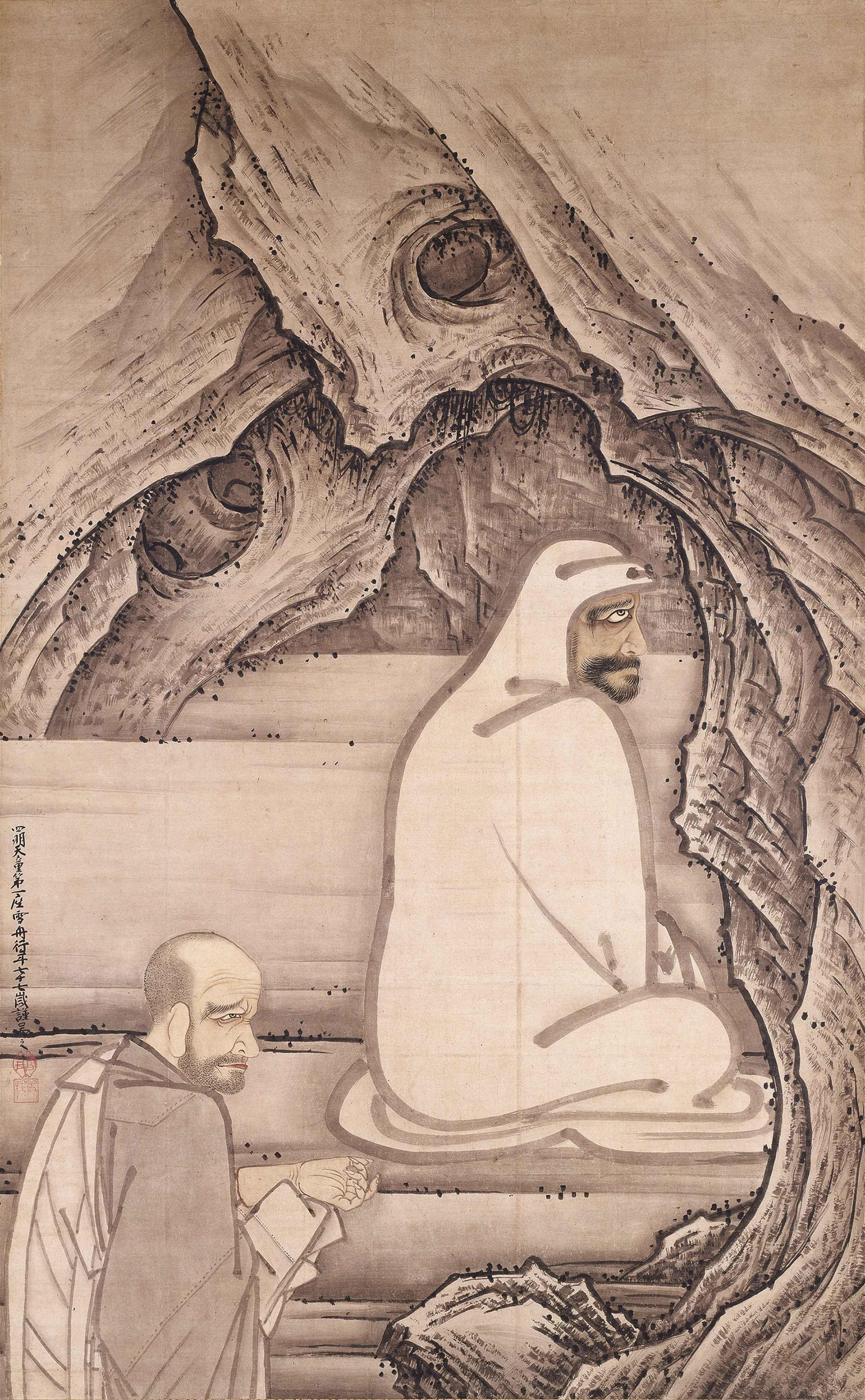 国宝 慧可断臂図 雪舟等楊筆 室町時代 明応5年(1496) 愛知・齊年寺蔵 11/8~11/27展示 座禅をする達磨に向かい、神光(後の慧可)という僧が弟子となるべく己の左腕を切り落とす場面。雪舟77歳の大作。