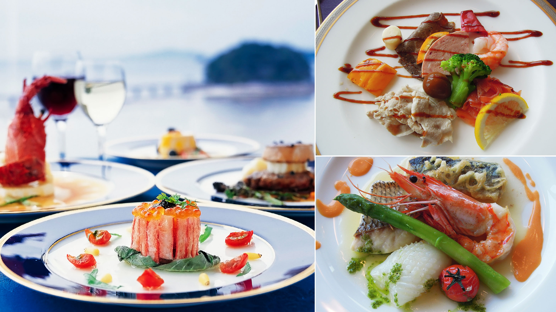 レストラン「リヴァージュ」は、地元産の食材を巧みに料理。竹島を眺めながらのランチやディナーは格別。