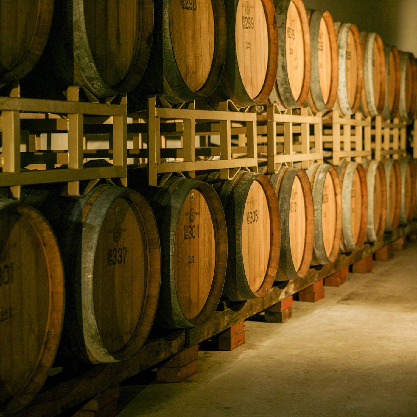 発酵させたワインは地下倉のオーク樽で静かに熟成させる。
