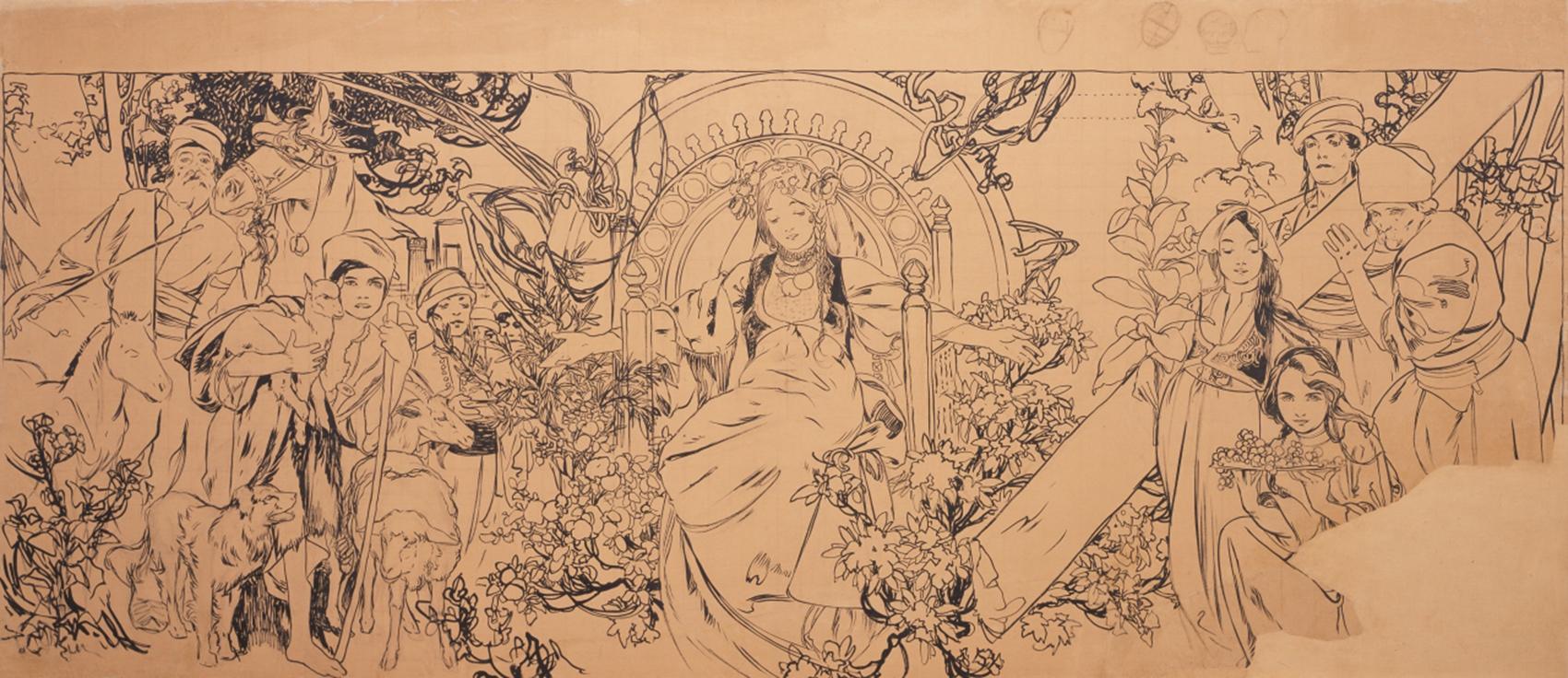 《1900年パリ万国博覧会 ボスニア・ヘルツェゴヴィナ館壁画》(下絵)1899-1900年 堺市