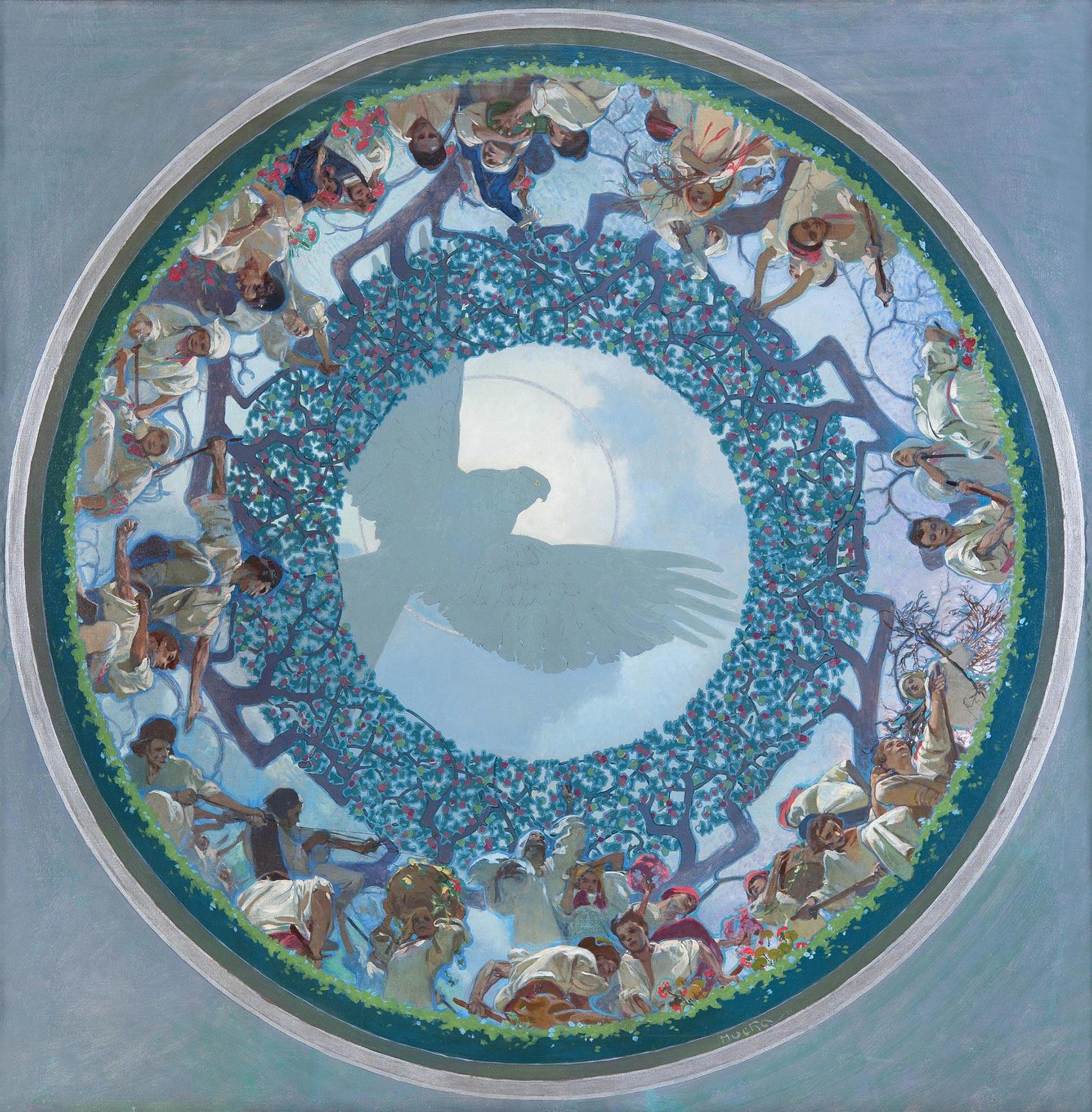 《スラヴの連帯》プラハ市庁舎天井画(下絵)1910-11年 プラハ市立美術館 ©Prague City Gallery