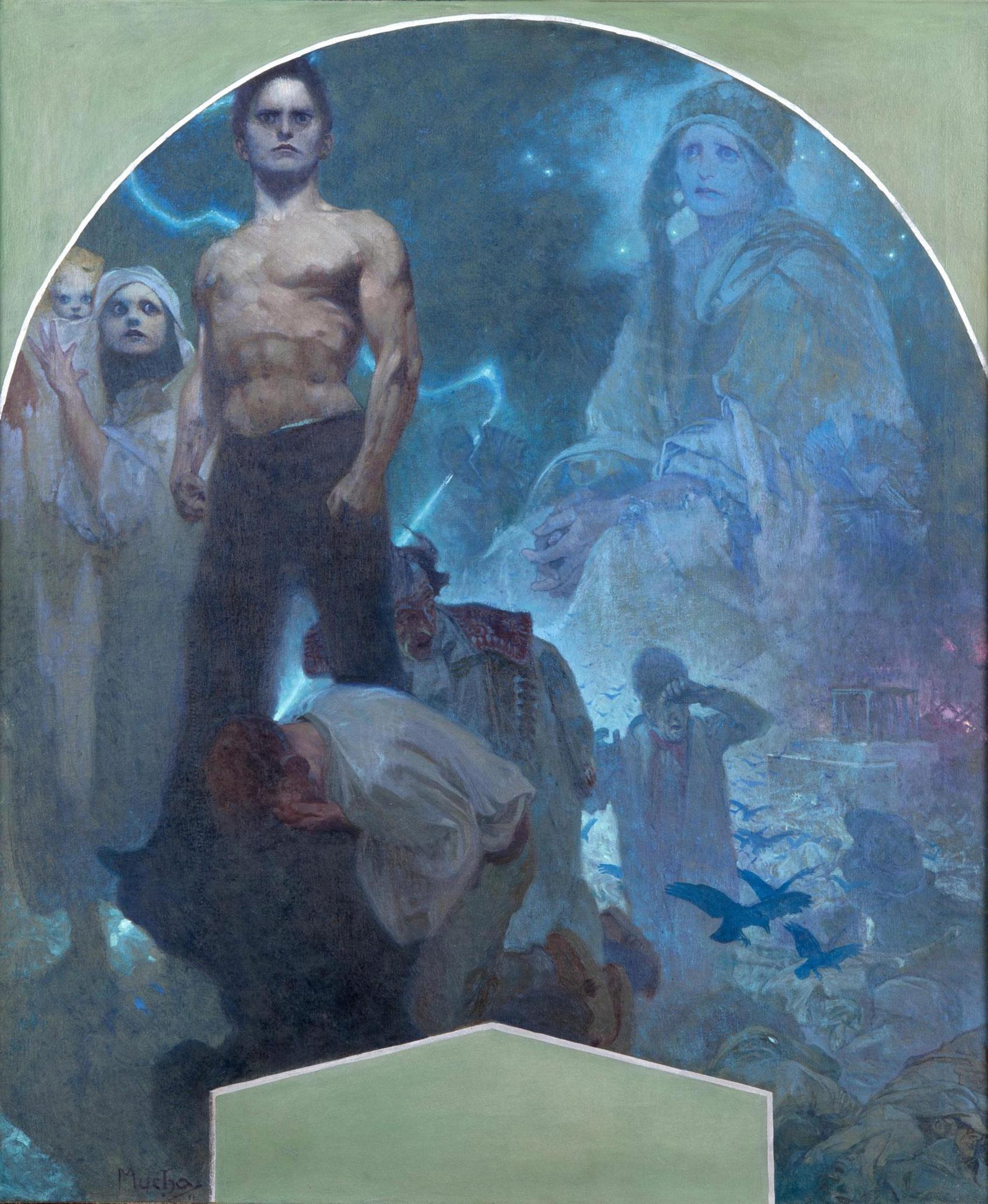 《自力Ⅱ 犠牲と勇気》プラハ市庁舎壁画(下絵)1911年 プラハ市立美術館 ©Prague City Gallery
