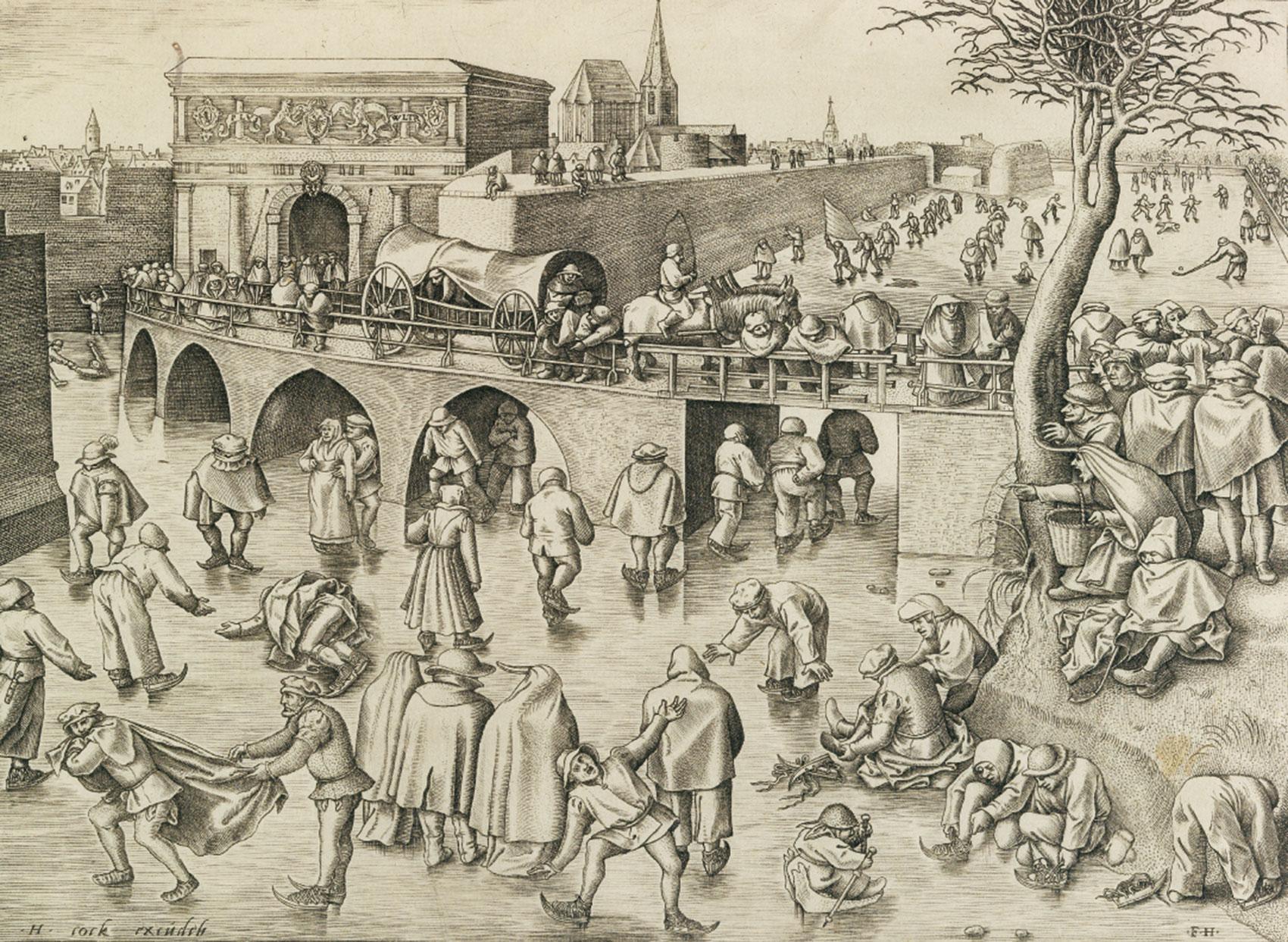 ピーテル・ブリューゲル1世(下絵)/フランス・ハイス(版刻) 「アントワープの聖ゲオルギウス門前のスケート滑り」1558年頃 エングレーヴィング Museum BVB, Rotterdam, the Netherlands