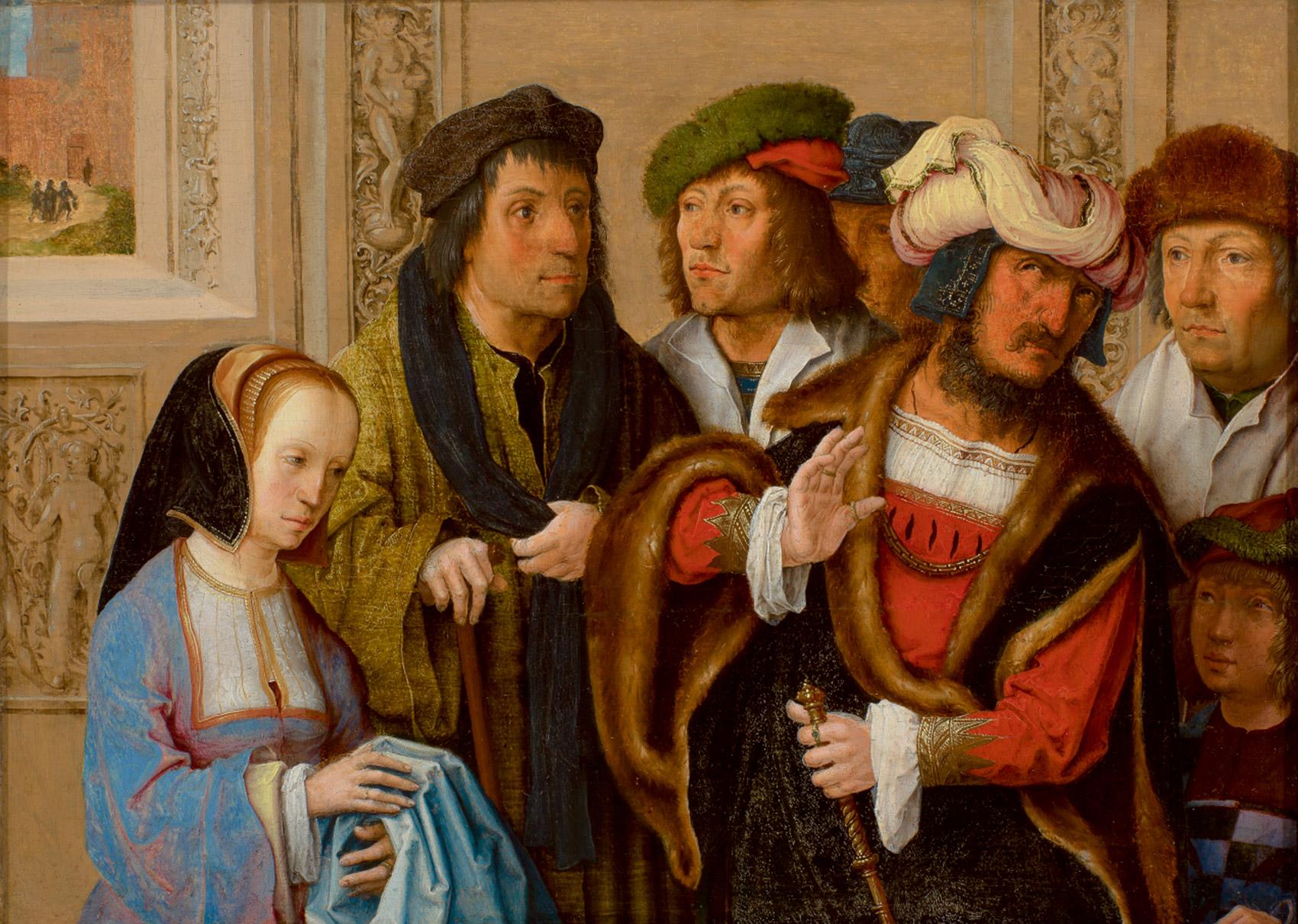ルカス・ファン・レイデン「ヨセフの衣服を見せるポテパルの妻」1512年頃 油彩、板 Museum BVB, Rotterdam, the Netherlands