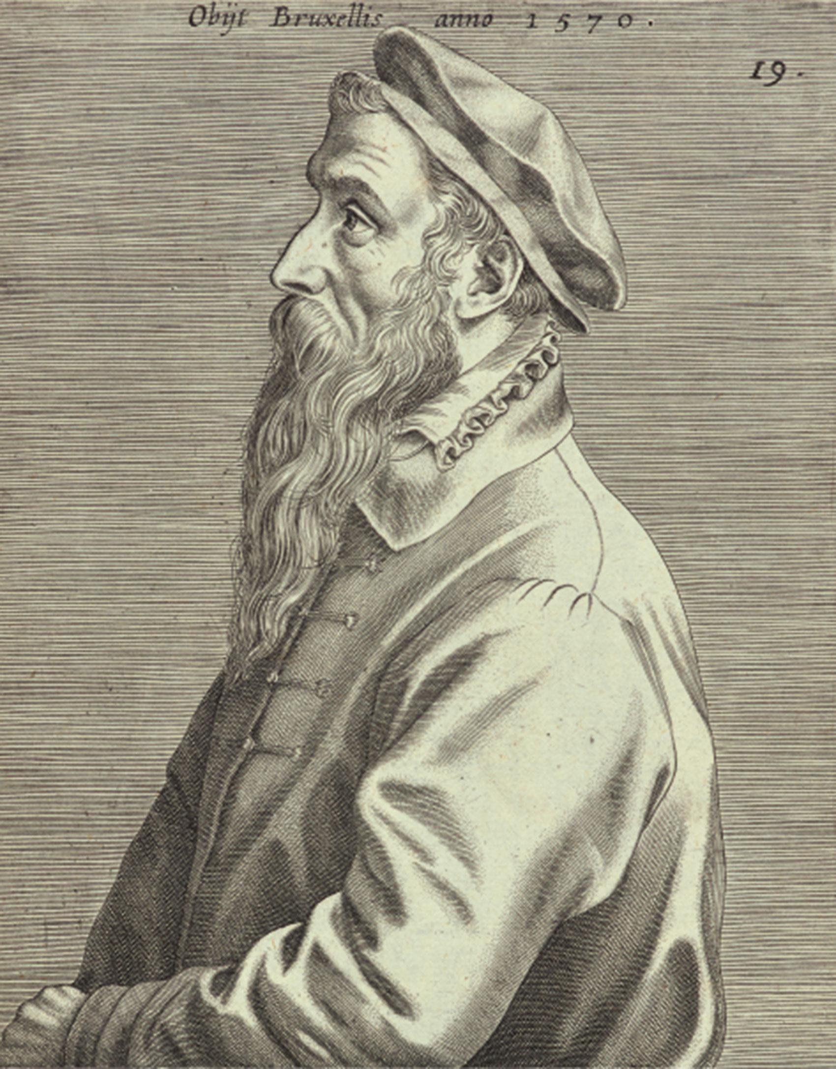 ヨハネス・ウィーリクス(版刻)「ピーテル・ブリューゲル1世の肖像(部分)」1600年 エングレーヴィング  Museum BVB, Rotterdam, the Netherlands