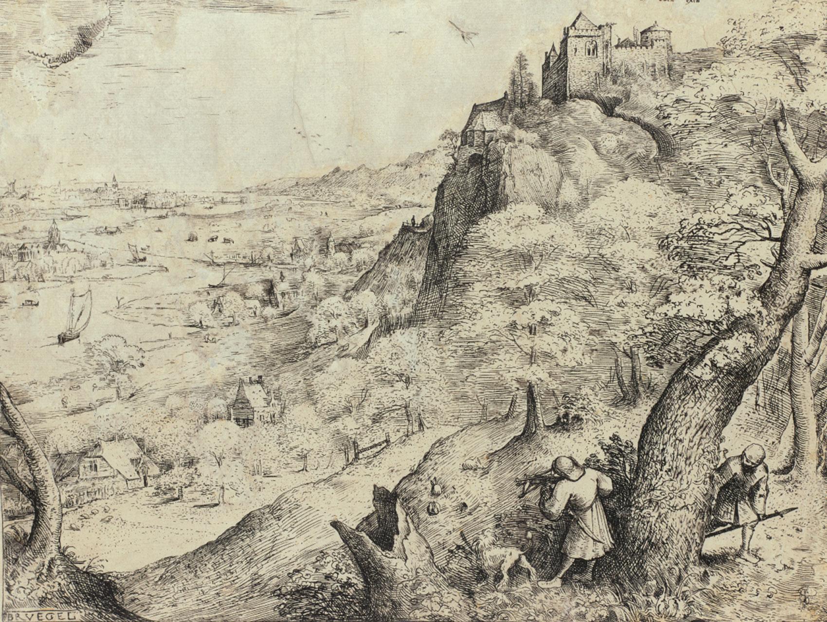 ピーテル・ブリューゲル1世(下絵、版刻)「野ウサギ狩り」1560年 エッチング Museum BVB, Rotterdam, the Netherlands