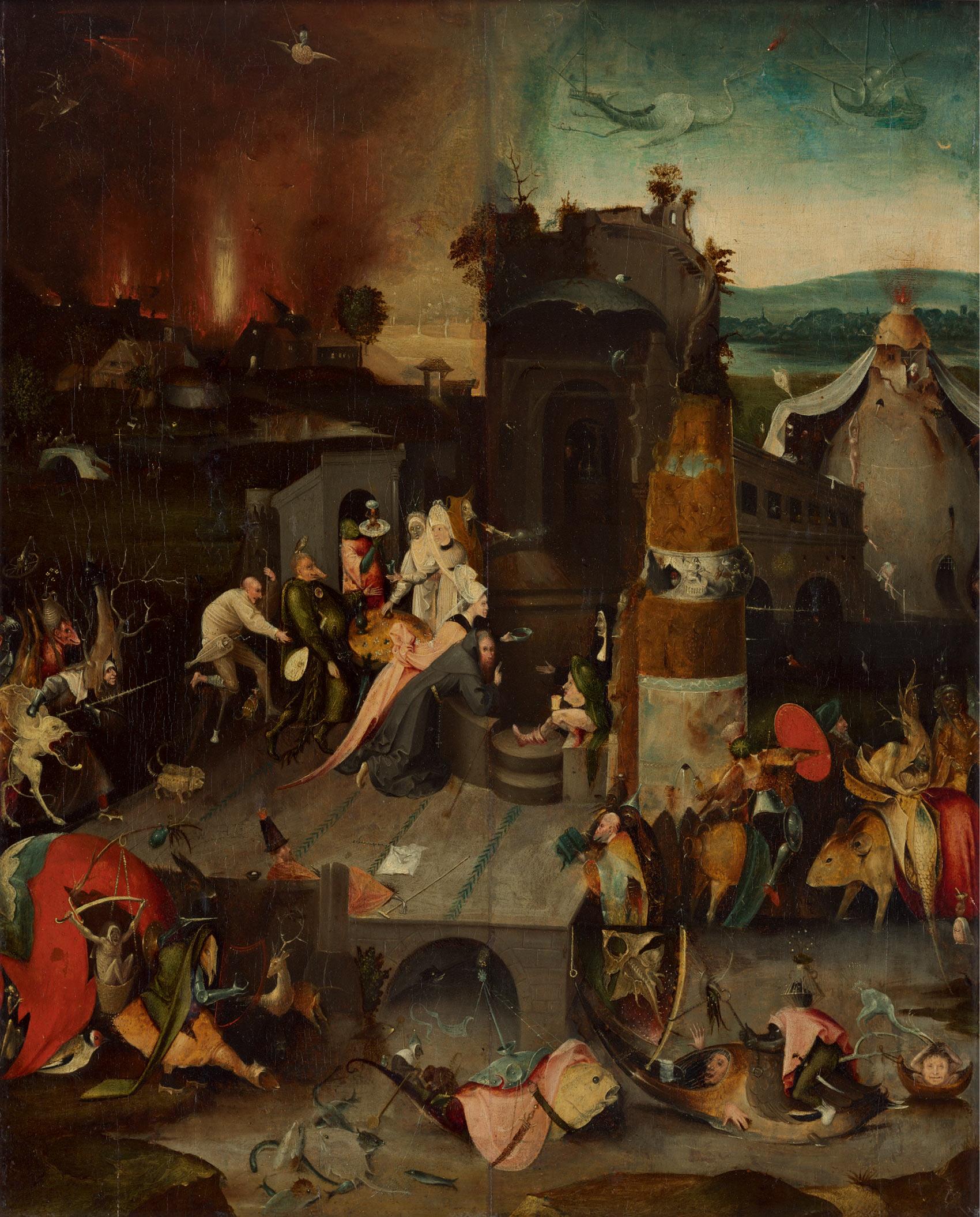 作者不詳(ボス作品の模倣)「聖アントニウスの誘惑」1540年頃 油彩、板 Museum BVB, Rotterdam, the Netherlands