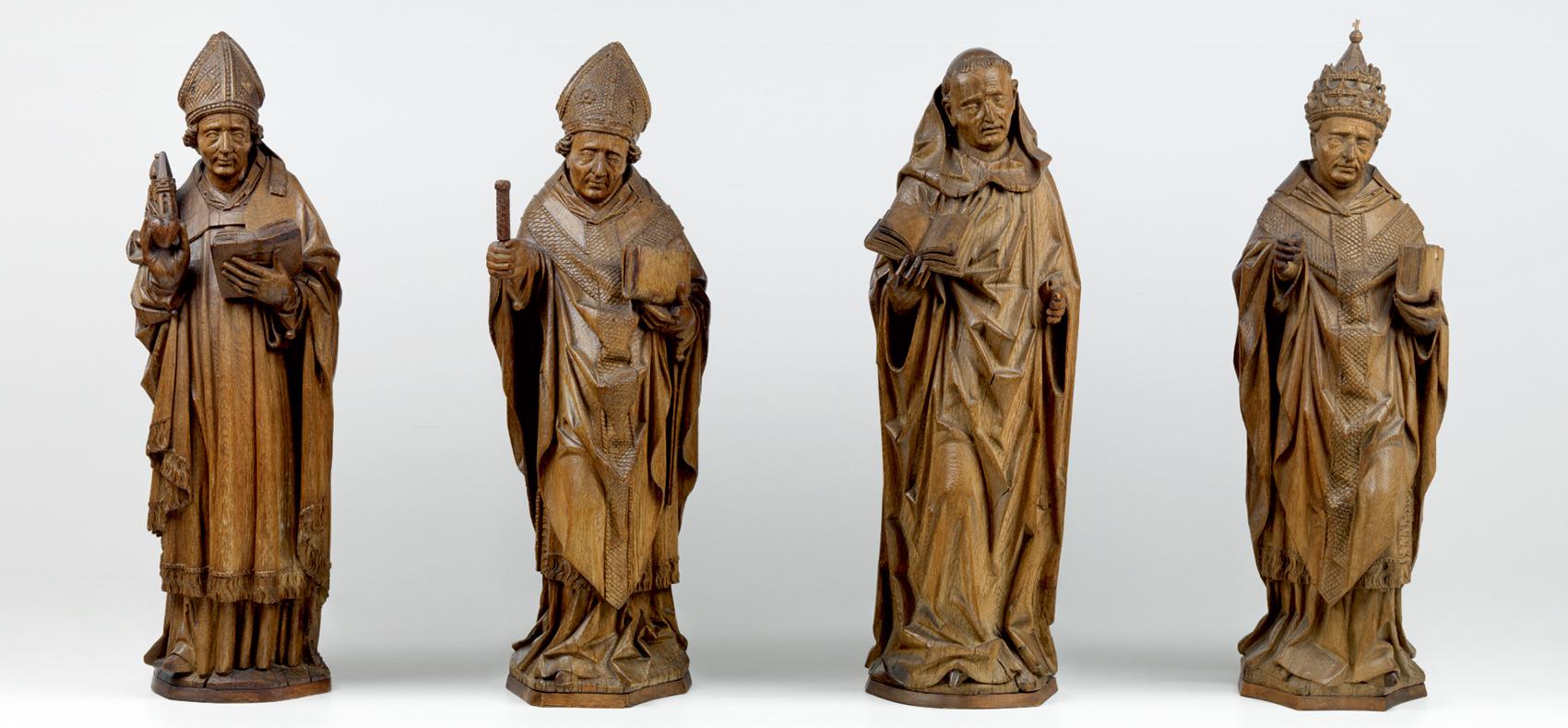 アルント・ファン・ズヴォレ(推定)「四大ラテン教父(聖アウグスティヌス、聖アンブロシウス、聖ヒエロニムス、聖グレゴリウス)」1480年 オーク材 Museum BVB, Rotterdam, the Netherlands