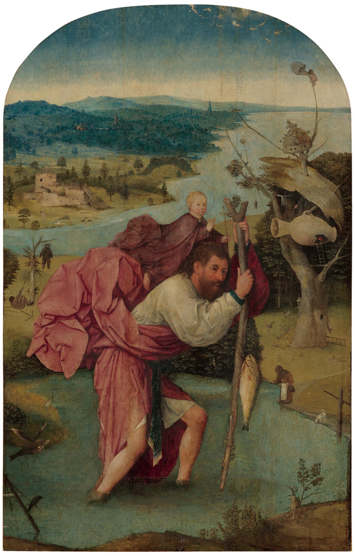 ヒエロニムス・ボス「聖クリストフォロス」1500年頃 油彩、板  Museum BVB, Rotterdam, the Netherlands (Koenigs Collection)