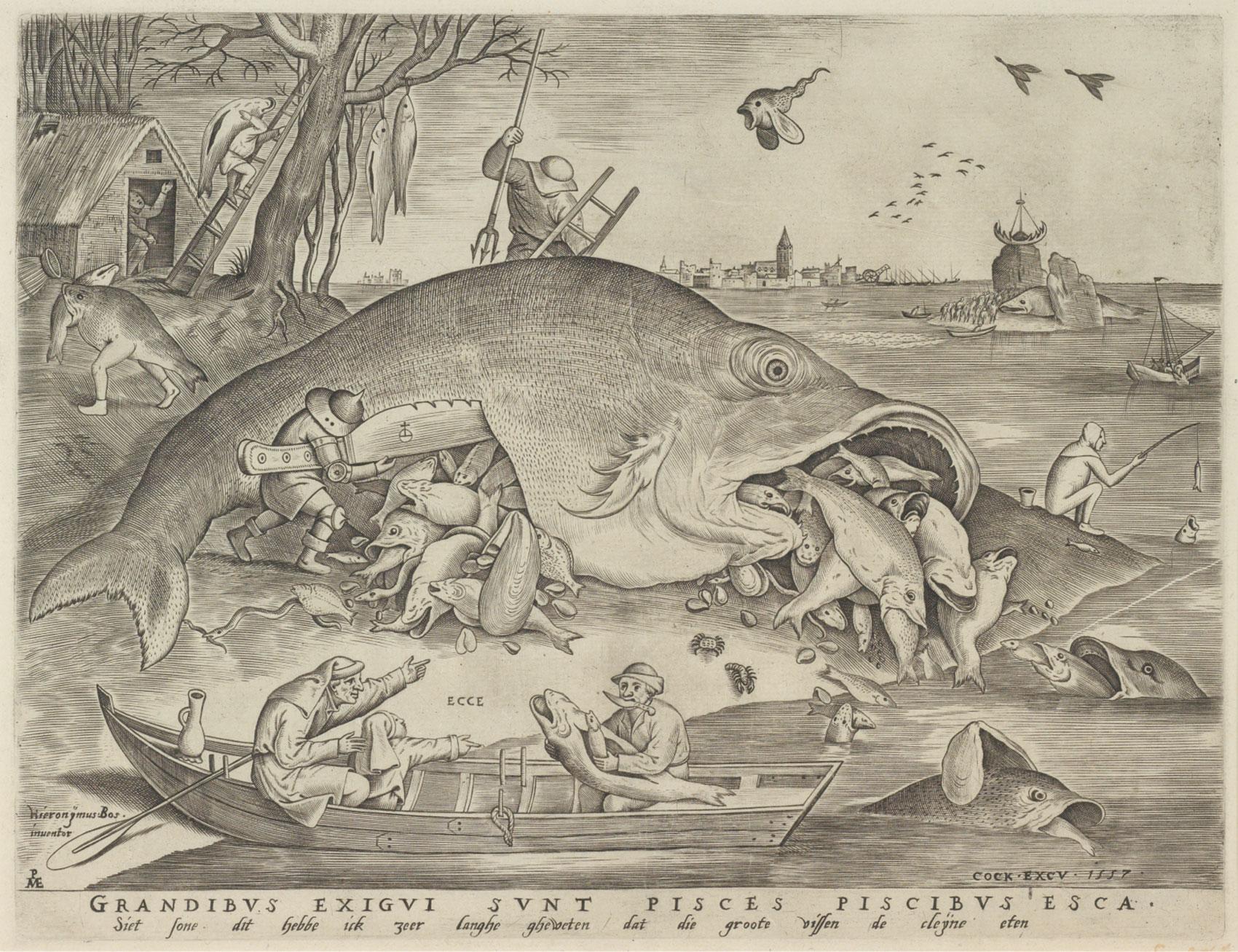 ピーテル・ブリューゲル1世(下絵)/ピーテル・ファン・デル・ヘイデン(版刻) 「大きな魚は小さな魚を食う」1557年 エングレーヴィング Museum BVB, Rotterdam, the Netherlands